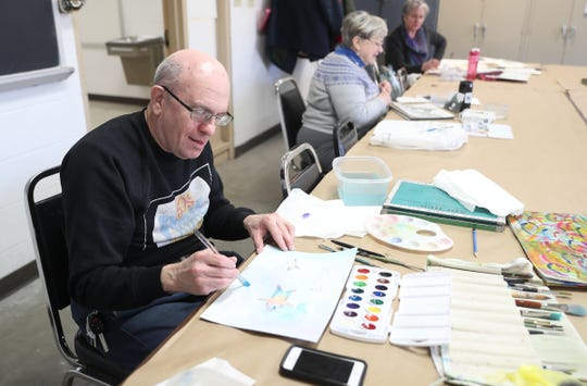 Daniel Kabakoff of White Plains works on a project at the Westchester Community College's Center for the Arts program at the County Center in White Plains on Monday, March 18, 2019.