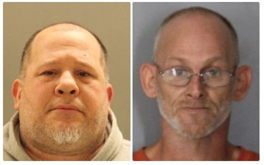 47-year-old Matthew Wojciechowski and 44-year-old Arnold Phillip Anderson (left to right) were charged with stealing cars and selling them.