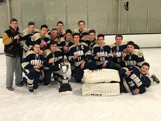 The Delaware Military Academy ice hockey team after its Delaware Cup win over Salesianum.