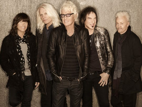 REO Speedwagon lead singer Kevin Cronin and bandmates Bruce Hall (bass), Neal Doughty (keyboards), Dave Amato (lead guitar) and Bryan Hitt (drums) will perform at Kay Yeager Coliseum May 1.