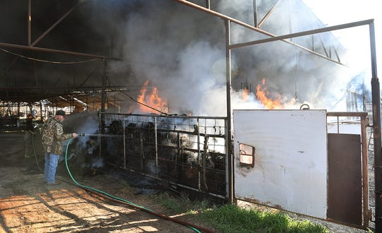 Approximately 800 bales of hay burned in a barn in the 1100 block of Pecanway Drive Monday morning. Several volunteer fire departments, Wichita Falls Fire Department and Sheppard Air Force Base responded to the blaze.