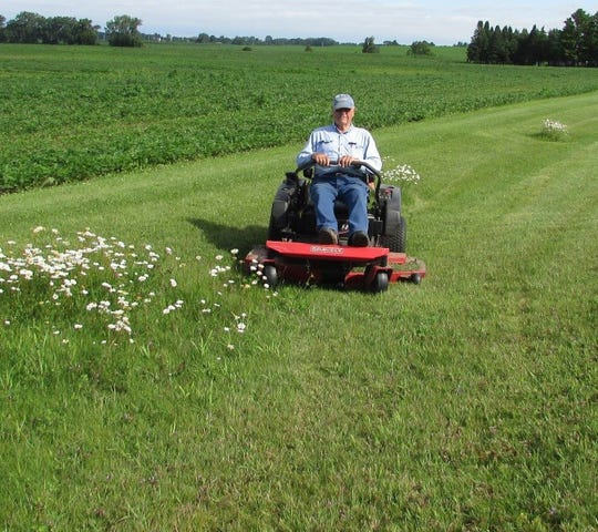 Bob mowing and saving daisies for Susan—Bob hopes this is in his future this coming summer.