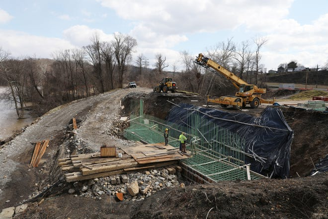 The Muskingum River bridge connecting Philo and Duncan Falls is the largest project being undertaken by the Ohio Department of Transporation in the area this year. The project is behind schedule due to recent flooding.