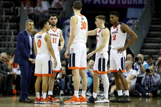 Perplexed faces look familiar? The Virginia Cavaliers react against the Florida State Seminoles during their game in the semifinals of the 2019 ACC tournament.