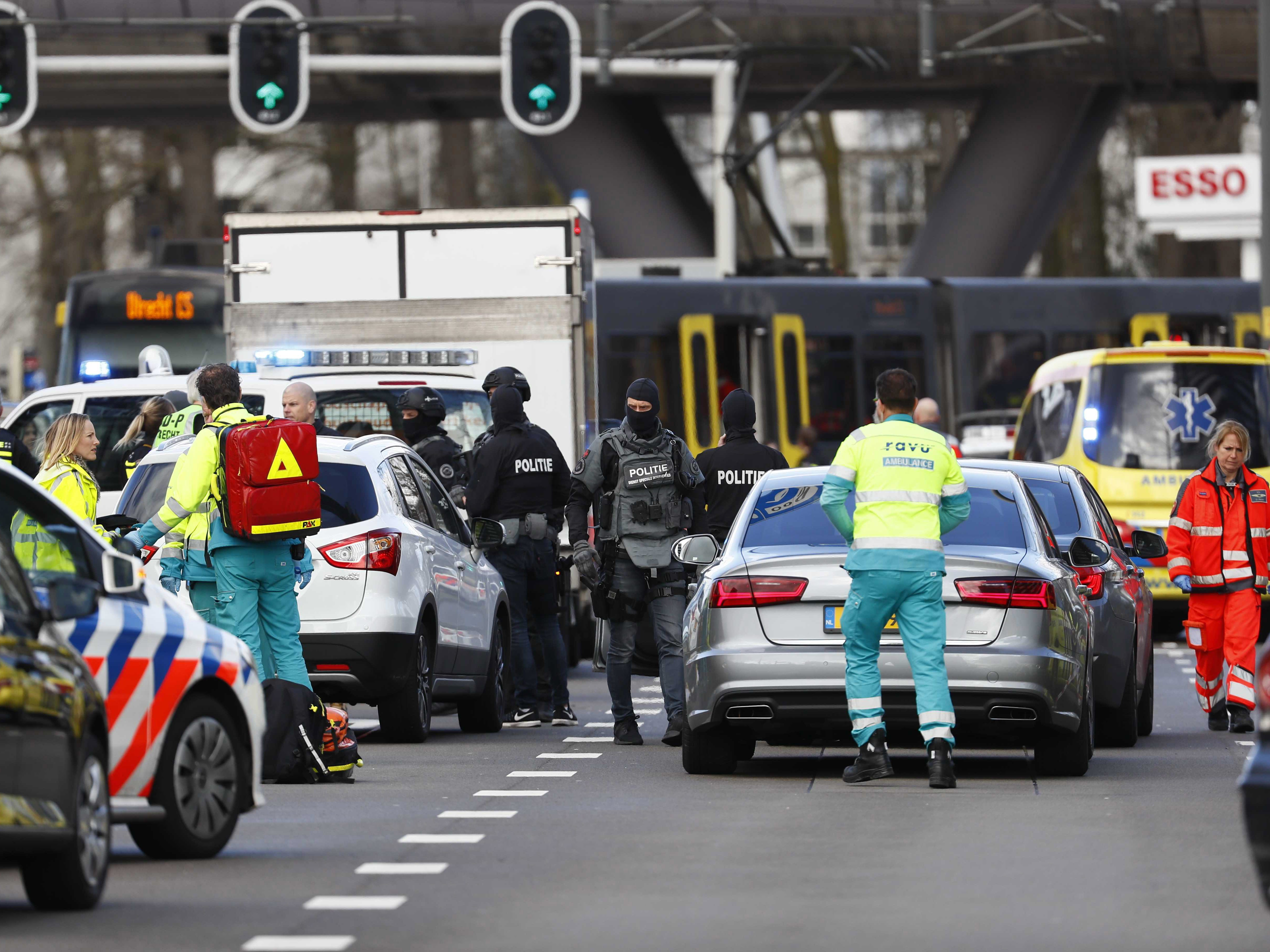 Emergency services at the 24 Oktoberplace where a shooting took place in Utrecht, The Netherlands, March 18, 2019.