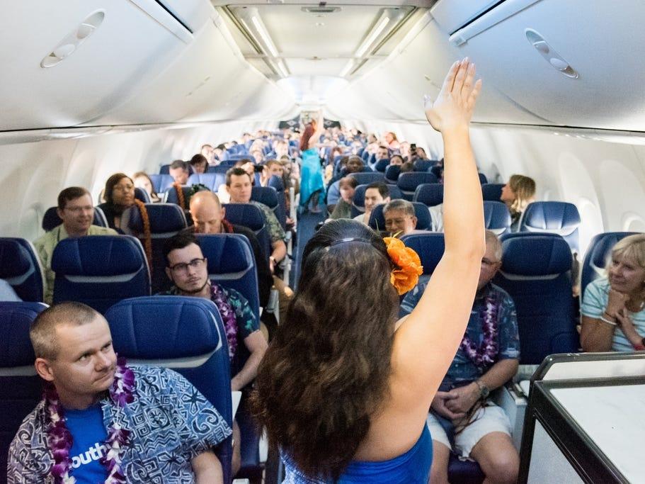 Hulu dancers from Hapa Hula perform during Southwest Airlines' inaugural Hawaiian flight to Honolulu, Hawaii, out of Oakland, California.