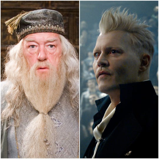 J.K. Rowling says Albus Dumbledore (Michael Gambon), whom she has previously said was gay, had a sexual relationship with Grindelwald (Johnny Depp). (Photo: WARNER BROS.)