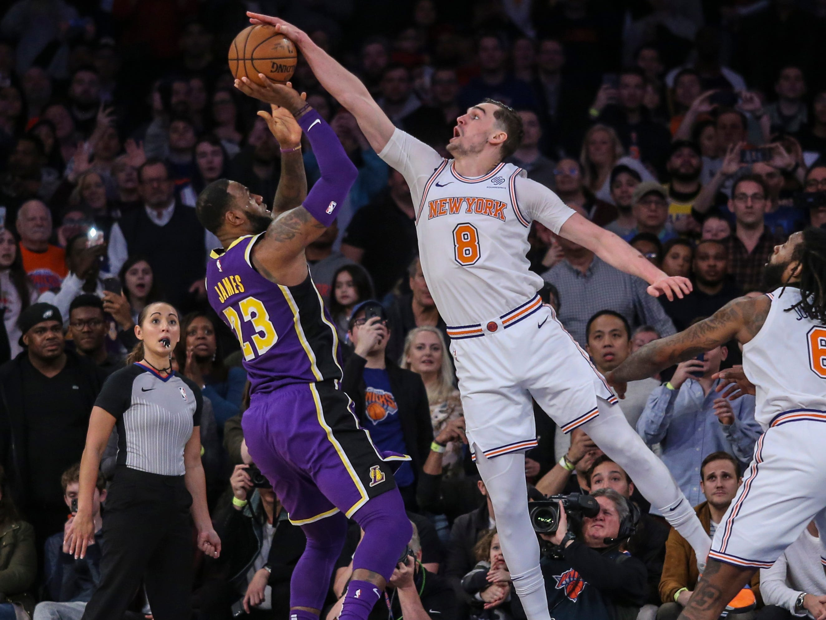 March 17, 2019: James has his last-second shot blocked by Mario Hezonja to seal a one-point win for the Knicks in New York.