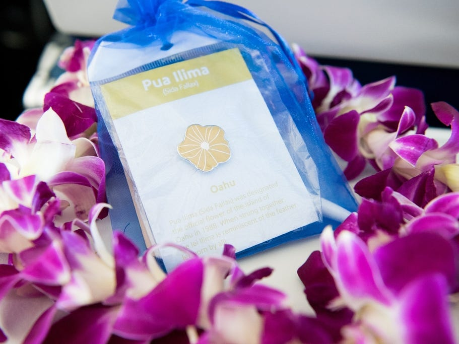 Southwest Airlines gifted Honolulu passengers a pin and luggage tag on the airline's inaugural flight to Hawaii.