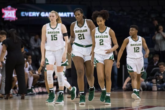Top-ranked Baylor, led by (L-R) Lauren Cox, Kalani Brown and DiDi Richards, will head into the NCAA Tournament as one of the four No. 1 seeds.