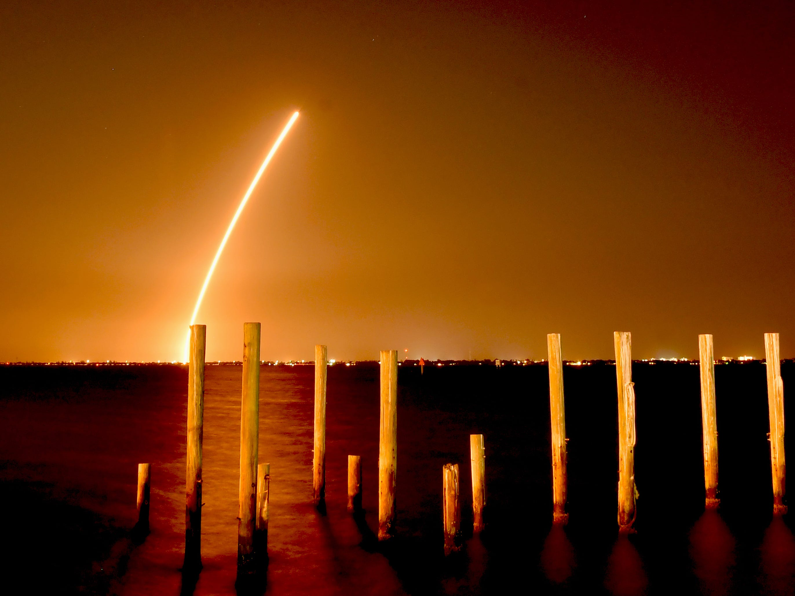A time exposure of the Delta IV launch from Cape Canaveral Air Force Station, as seen from the edge of Indian River Lagoon, just north of the Melbourne Causeway, March, 15, 2019.