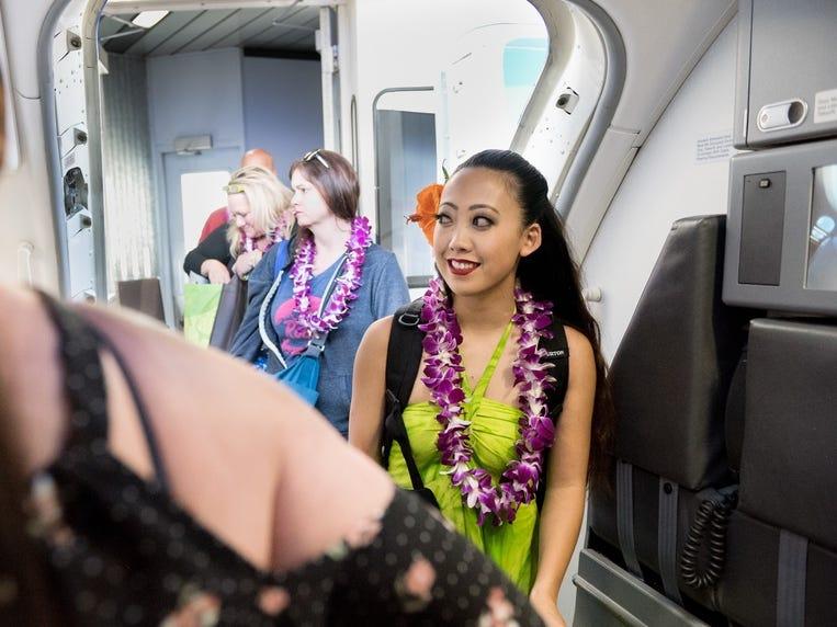 Passengers begin to board Southwest Airlines' inaugural Hawaiian flight from Oakland, California, to Honolulu, Hawaii.