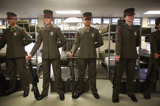 Female Marine recruits
