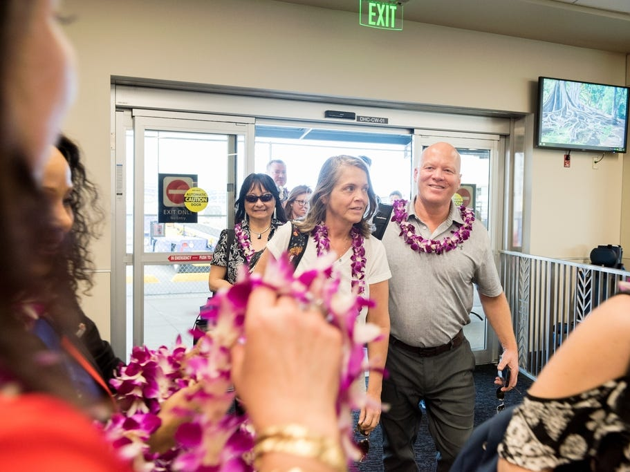 Passengers from Oakland, California, were all smiles as they were greeted with leis in Honolulu.