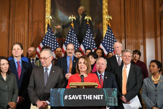 Democrats announce net neutrality protections legislation in Washington, D.C., on March 6, 2019.