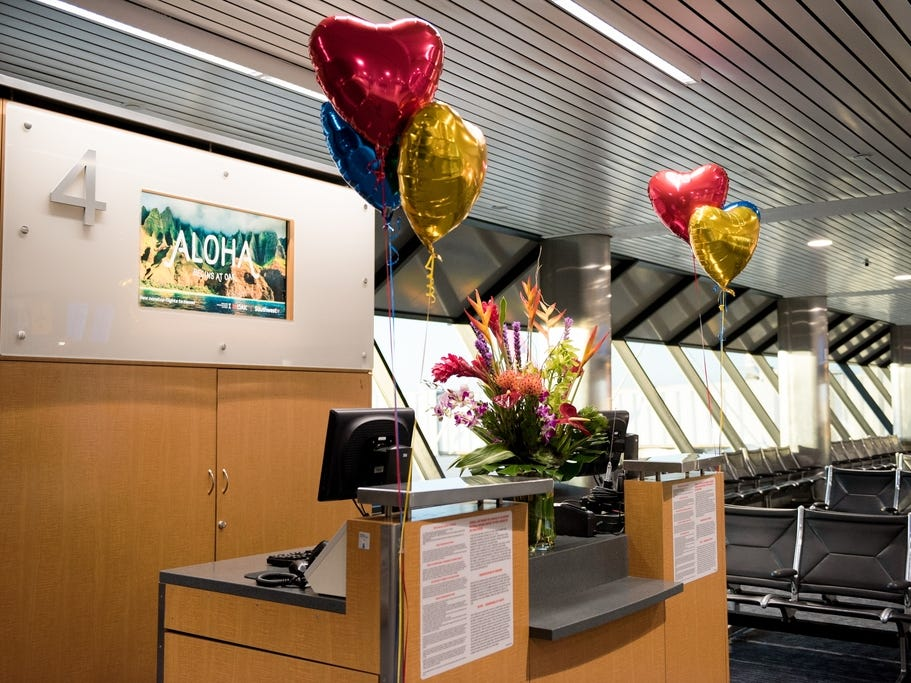 Southwest Airlines decorated Gate 4 at Oakland International Airport for the airline's inaugural flight to Hawaii.