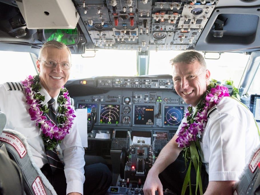 Captain Michael Styer and Captain Rob Evers piloted Southwest Airlines' inaugural Hawaiian flight from Oakland, California, to Honolulu, Hawaii.