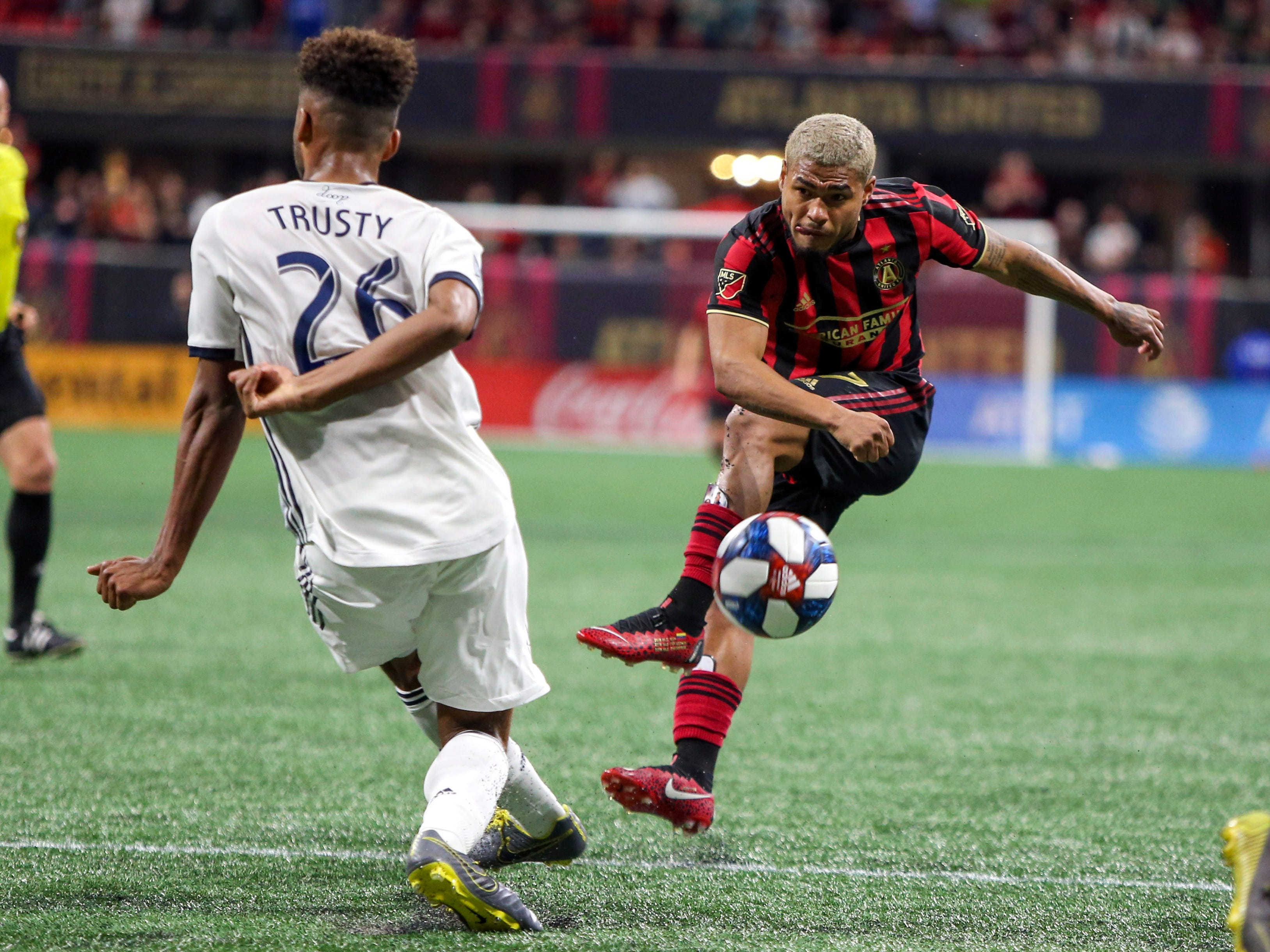 March 17: Atlanta United forward Josef Martinez takes a shot against the Philadelphia Union in the second half at Mercedes-Benz Stadium. The game ended in a 1-1 tie.