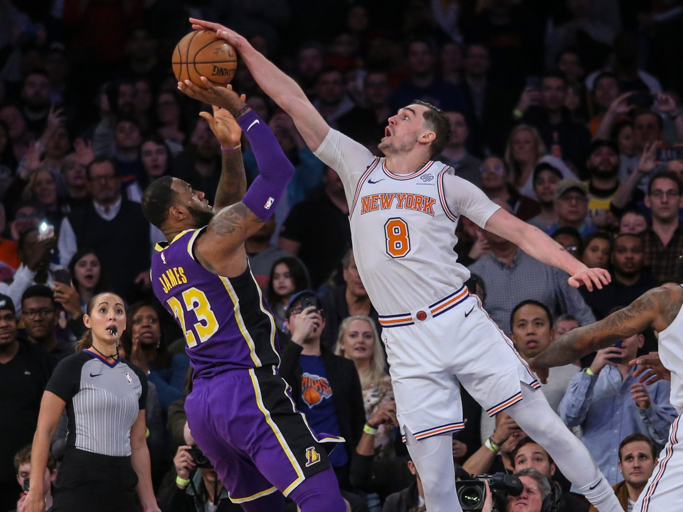 March 17: Mario Hezonja blocks LeBron James' last-second shot to seal the Knicks' one-point win over the Lakers.