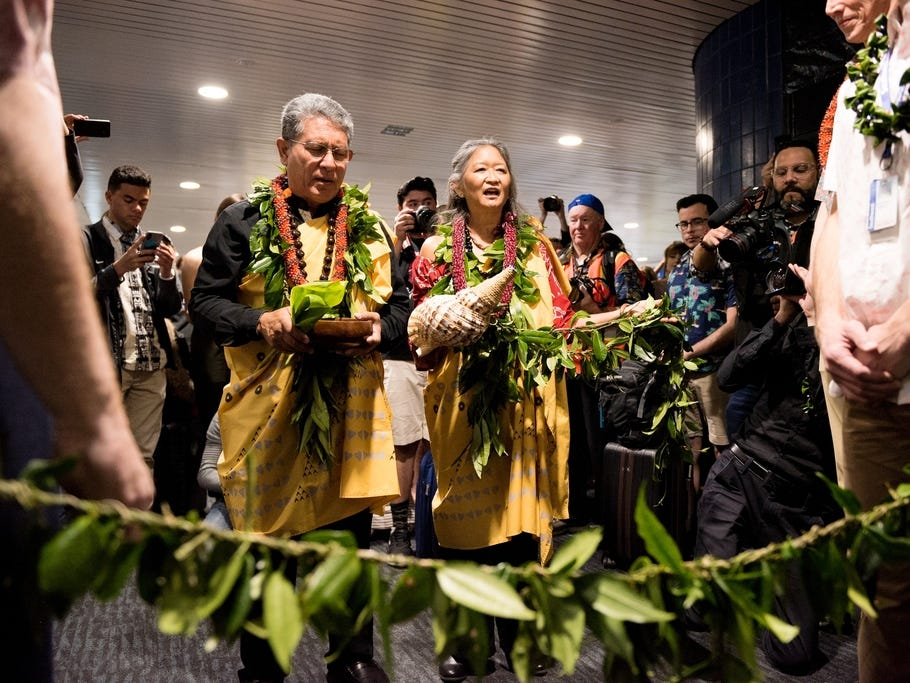 Daniel and Anna Akaka offer a blessing ceremony for Southwest Airlines' inaugural Hawaiian flight at Oakland International Airport.
