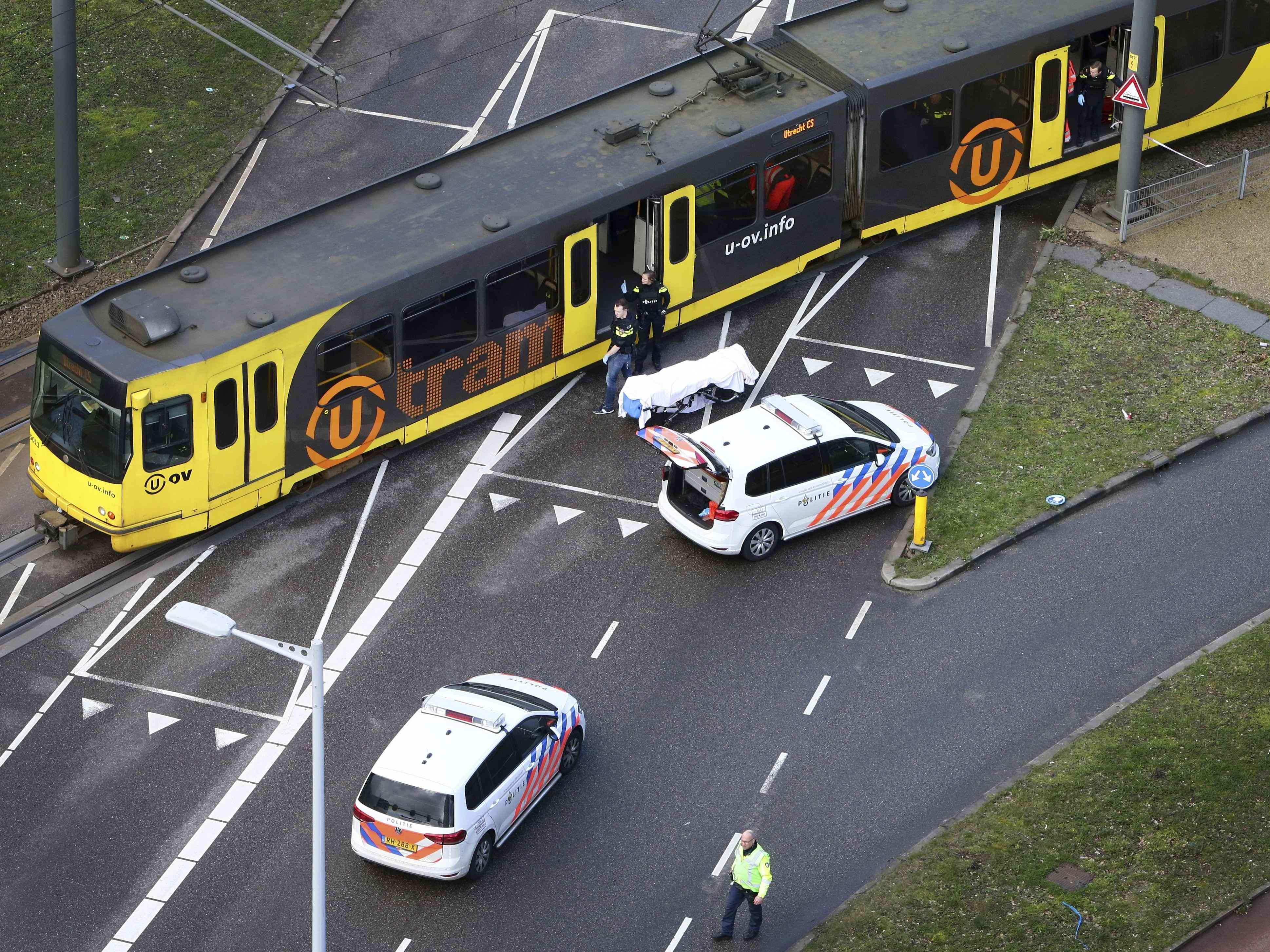 Special Police forces inspect a tram at the 24 Oktoberplace in Utrecht, on March 18, 2019 where a shooting took place.