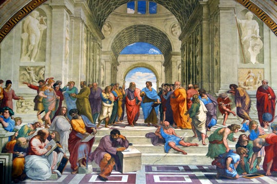 """Raphael's """"School of Athens"""" celebrates mankind's intellectual achievements and connection to the great minds of classical Greece."""