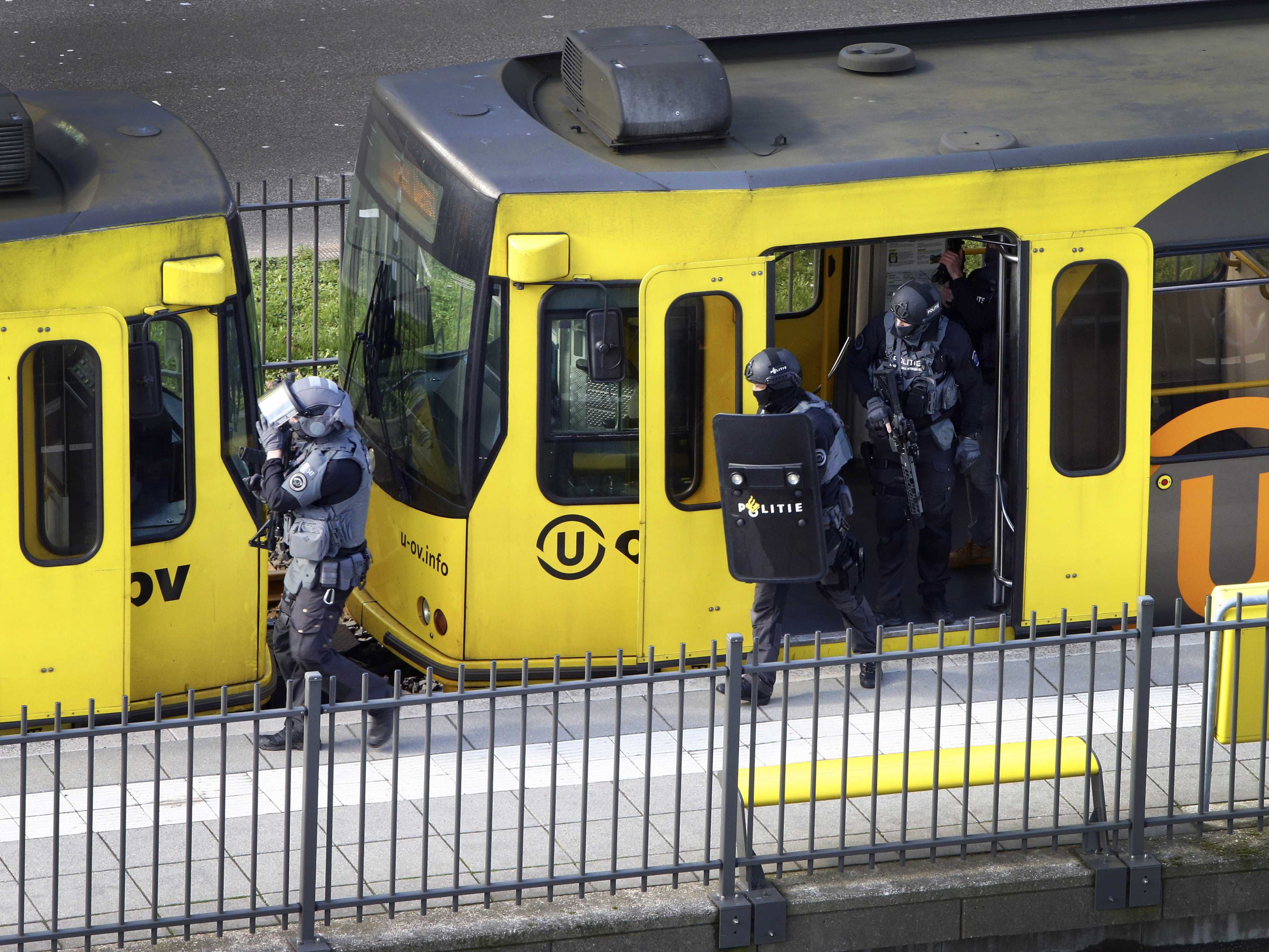 Special Police Forces inspect a tram, after the attack on a tram at the 24 Oktoberplace in Utrecht, The Netherlands,  March 18, 2019.  Three people were killed and nine injured in a shooting on a tram in the Dutch city of Utrecht, the mayor said on March 18, adding that authorities were working on the basis of it being a terror attack.
