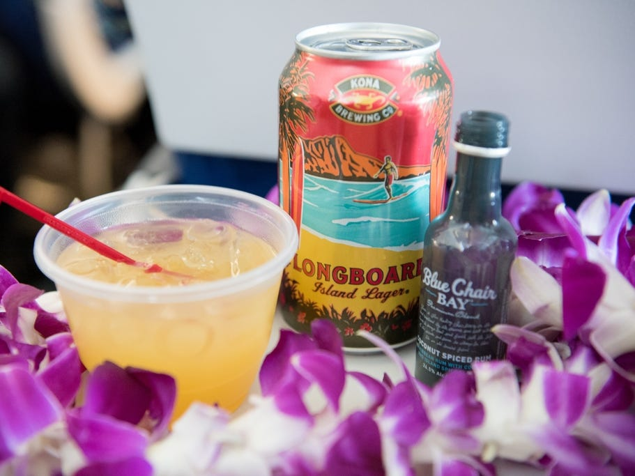 Southwest Airlines featured new beverage offerings on its inaugural flight to Hawaii.