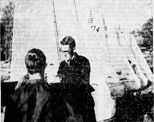 "Feb. 8, 1970: Members of the Clemson University Sailing Club ready their six, 14-foot sailboats for a pleasure cruise on Lake Hartwell. Here, C.B. ""Skip"" Lahser gives a quick lesson on the correct method of raising the jib."