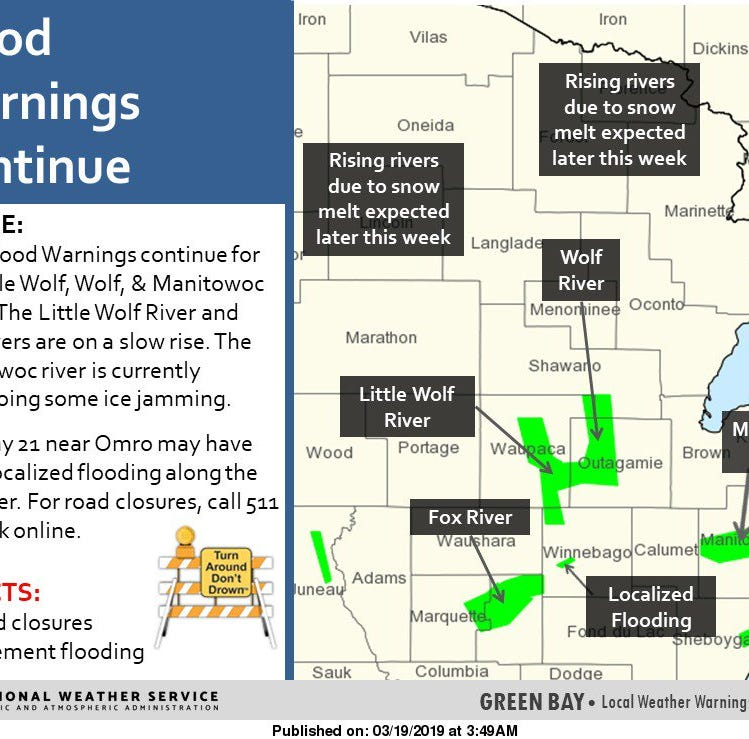 Wolf and Manitowoc rivers cause flooding concerns in northeast Wisconsin