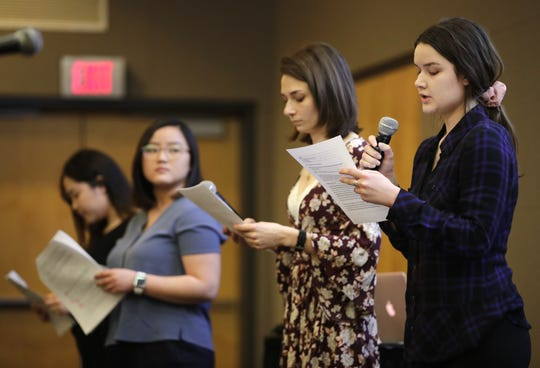 Call for Action Forum organizers, from left, Pa Houa Xiong, Alina Xiong, Alicia Obermeier and Hannah Johnson introduce themselves to the crowd during the forum in the Reeve Union at the University of Wisconsin-Oshkosh Monday, March 18, 2019, in Oshkosh, Wis.