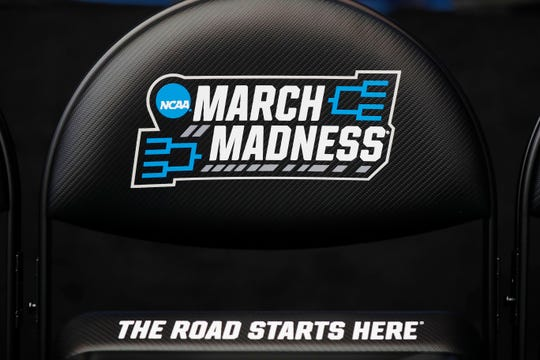 Mar 18, 2019; Dayton, OH, USA; General view of March Madness signs during practice before the First Four in the 2019 NCAA Tournament at Dayton Arena. Mandatory Credit: Brian Spurlock -USA TODAY Sports