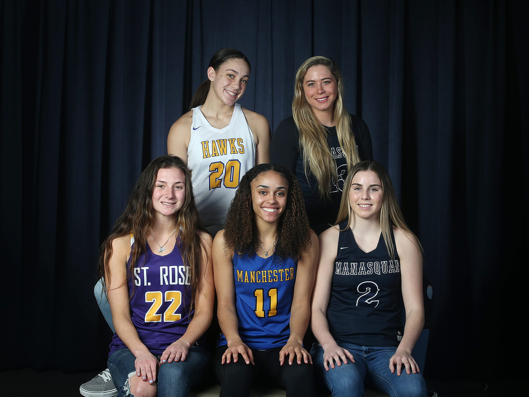(top L-R) Destiny Adams of Manchester High School, Faith Masonius of Manasquan High School, (bottom L-R) Brynn Farrell of St. Rose High School, Leilani Correa of Manchester High School and Lola Mullaney of Manasquan High School during the All-Shore girls basketball team photo shoot at the Asbury Park Press in Neptune, NJ Tuesday, March 19, 2019.
