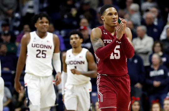 Temple Owls guard Nate Pierre-Louis (15) reacts after a play against the Connecticut Huskies in the second half at Gampel Pavilion.