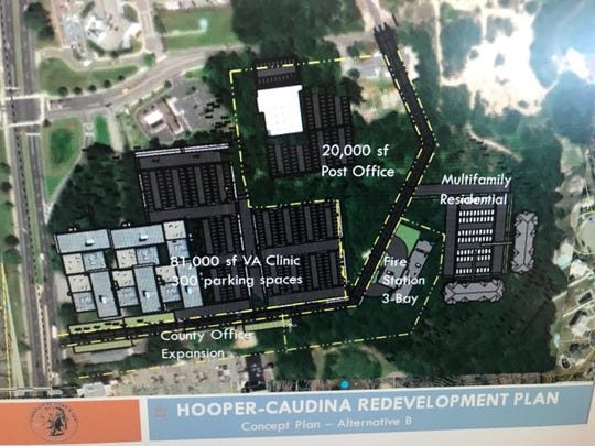Concept plan for redevelopment at Caudina and Hooper in Toms RIver, including relocated post office and new VA hospital