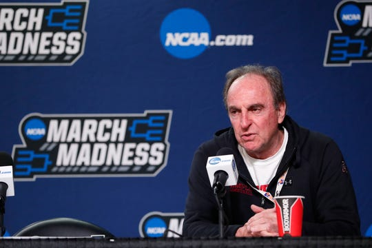 Mar 18, 2019; Dayton, OH, USA; Temple Owls head coach Fran Dunphy talks to the press during practice before the First Four in the 2019 NCAA Tournament at Dayton Arena. Mandatory Credit: Rick Osentoski-USA TODAY Sports