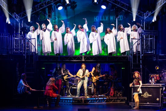 """The cast of the """"Rock of Ages"""" 10th anniversary tour perform a scene from the musical."""