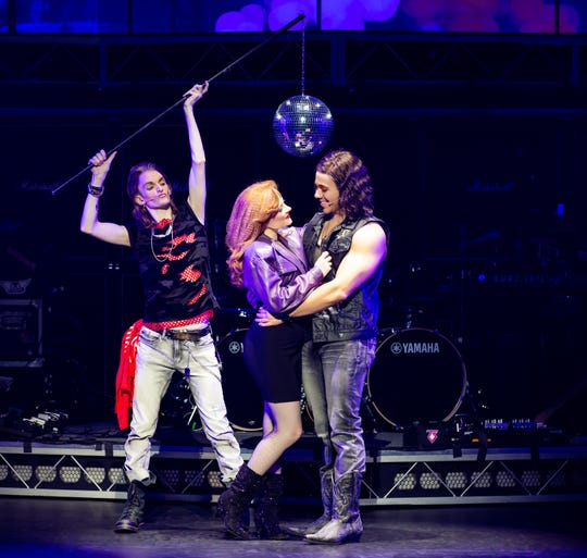 """From left, John-Michael Breen (Lonny), Katie LaMark (Sherrie) and Anthony Nuccio (Drew) star in the national tour of """"Rock of Ages."""""""