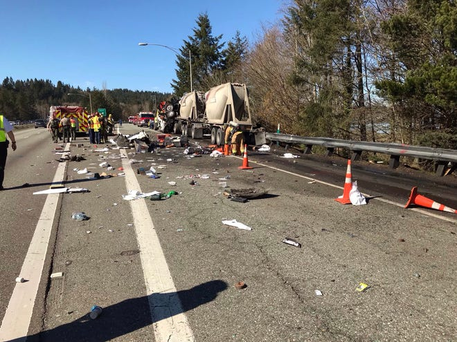 A semi truck struck a state Department of Transportation truck on Tuesday afternoon, closing the right lane of Highway 3 along with the Chico Way exit.