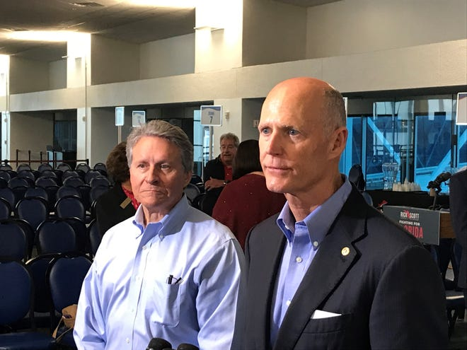 Sen. Rick Scott (right) and CEO Murray at Port Canaveral March 19, 2019.
