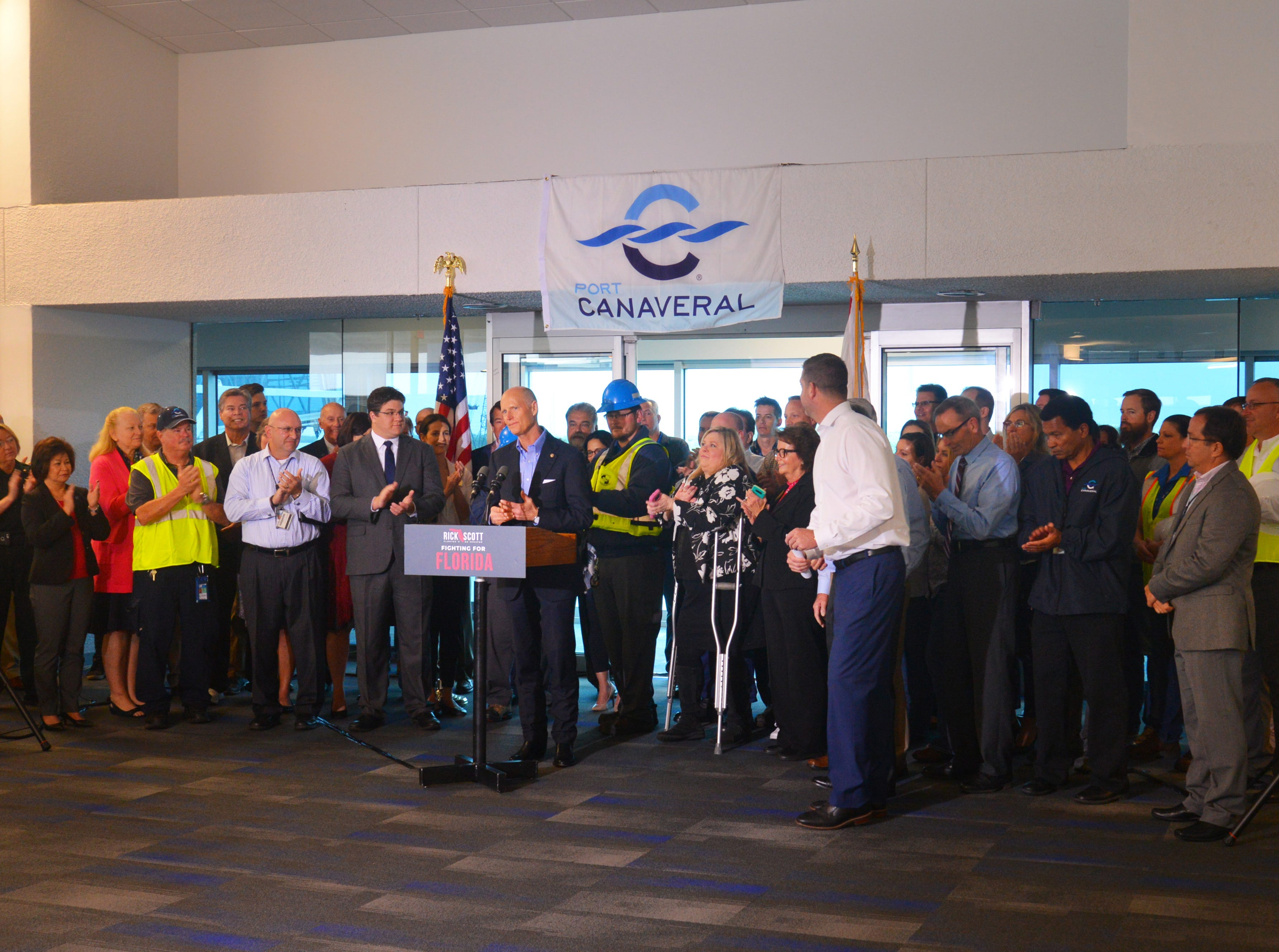 Sen. Rick Scott held a press conference at Terminal 5 Tuesday morning at Port Canaveral, pledging to work for $140 million in the budget for Florida ports.