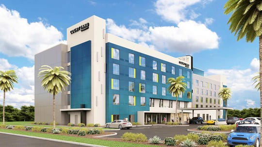 Artist rendering of the 152-room Courtyard by Marriott hotel that Delaware North Parks and Resorts plans to build near the former U.S. Astronaut Hall of Fame building in south Titusville.