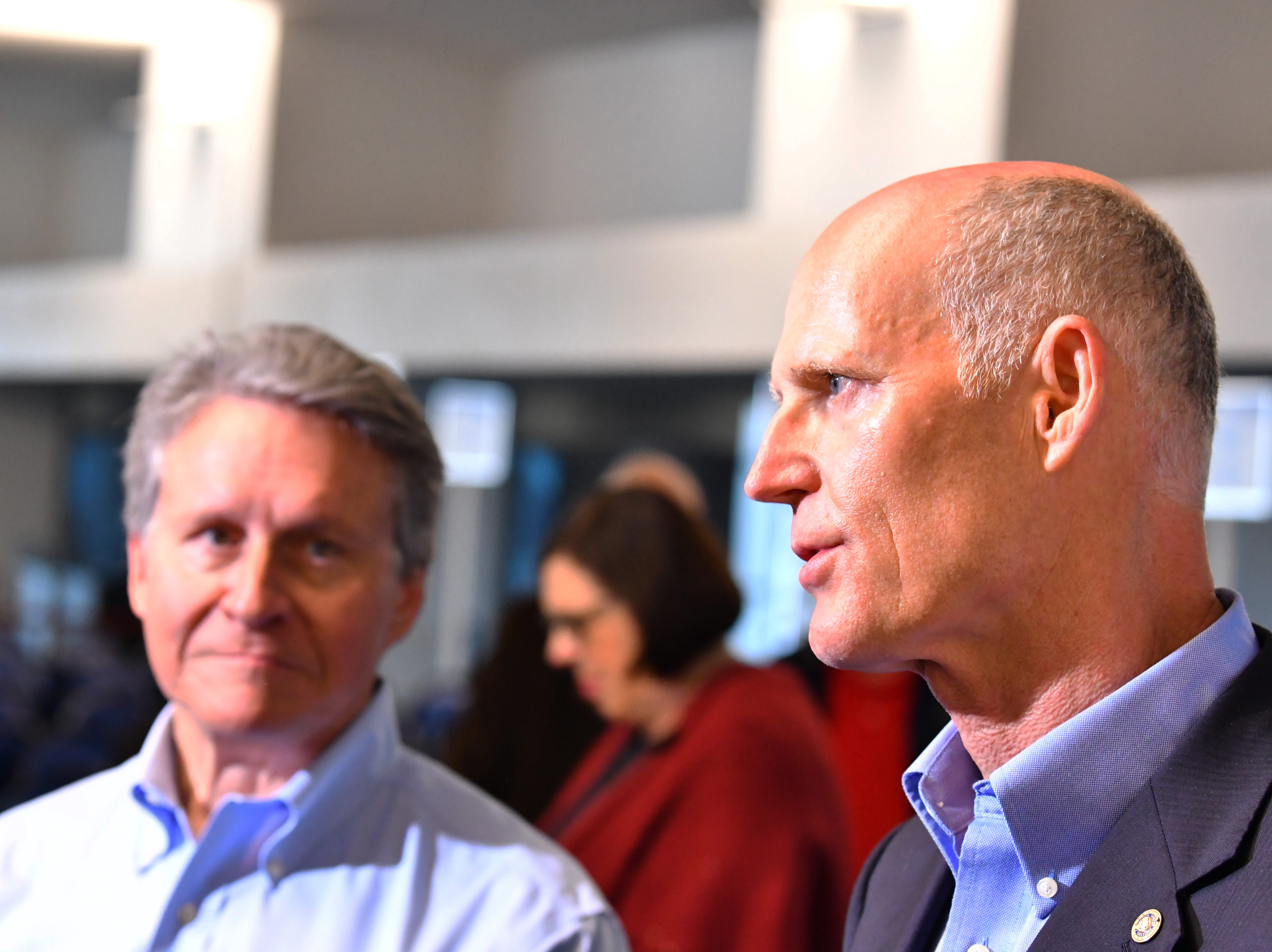 Sen. Rick Scott held a press conference at Terminal 5 Tuesday morning at Port Canaveral, pledging to work for $140 million in the budget for Florida ports. Senator Scott and port CEO John Murray talked to the media after the official press conference.
