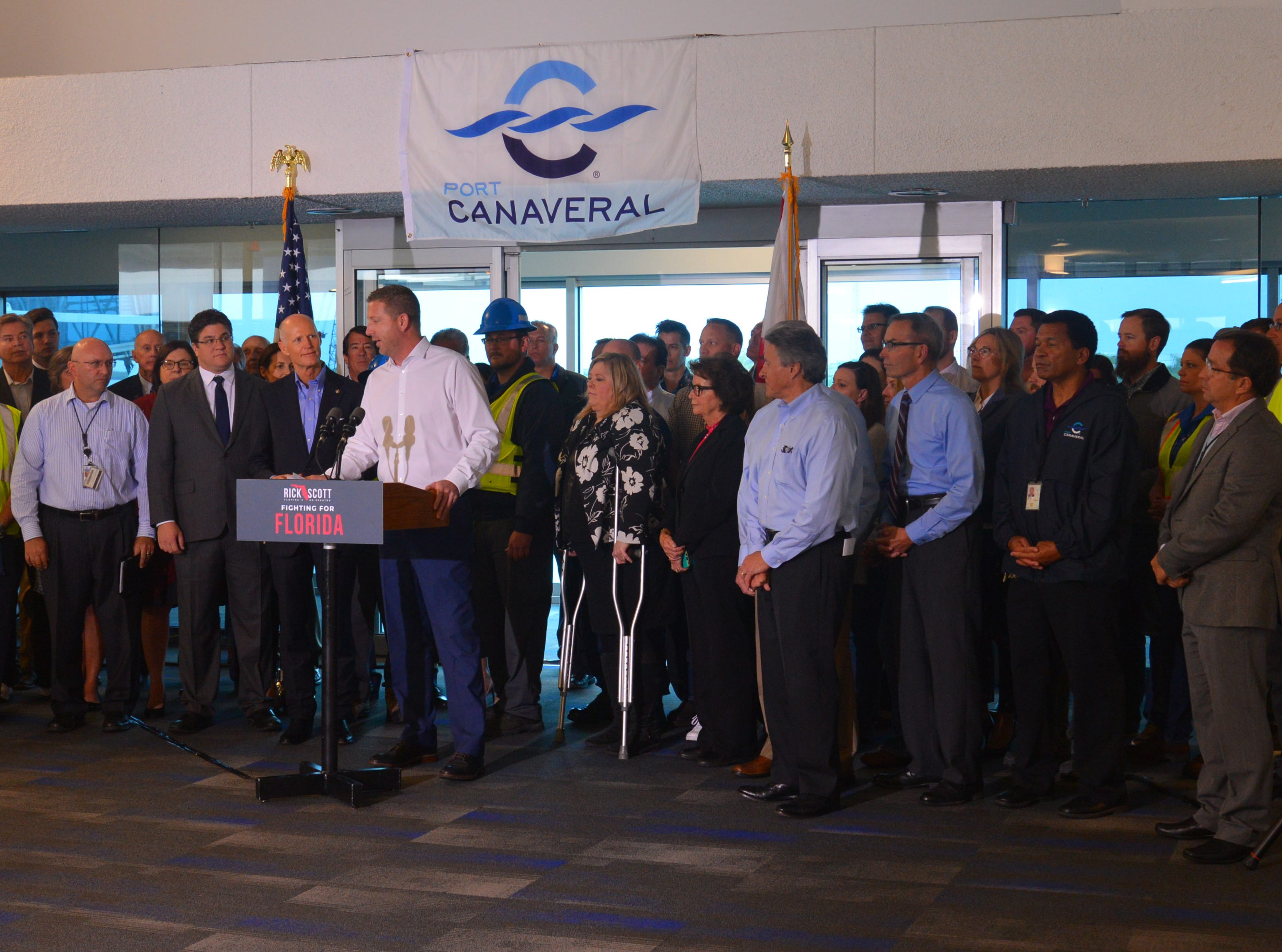Sen. Rick Scott held a press conference at Terminal 5 Tuesday morning at Port Canaveral, pledging to work for $140 million in the budget for Florida ports. POrt Commissioner Micah Loyd introduced the senator.