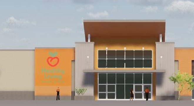 The entrance to Healthy Living's proposed store in Williston is shown in this rendering created for the owners and submitted to the town's Planning and Zoning Department on March 4, 2019.