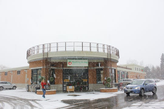 Healthy Living Market & Cafe in South Burlington, pictured on a snowy day.