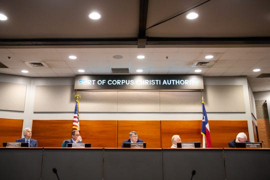 Port of Corpus Christi commissioners during public comment regarding the  Harbor Island project at their meeting on Tuesday, March 19, 2019.