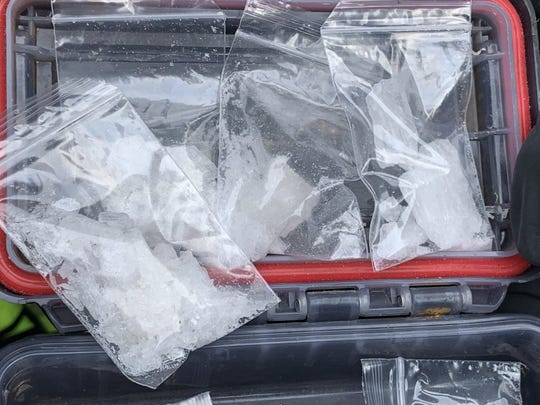 Aransas Pass police officers seized a weapon, ammunition, crystal meth and xanax from a backpack carried by a 33-year-old man Monday, March 19, 2019 in Aransas Pass.