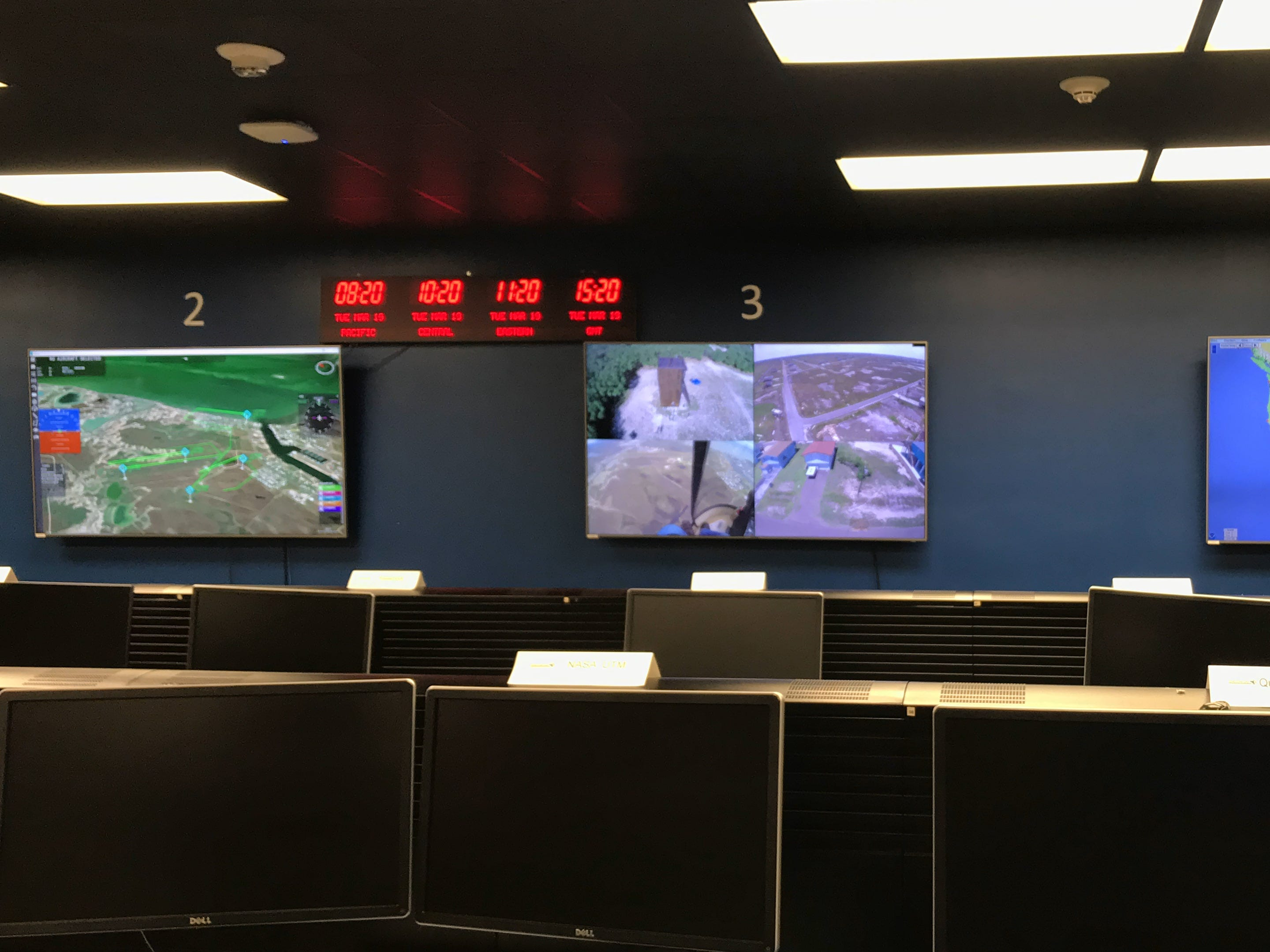 Inside the NASA Mission Control Center at Lone Star UAS Center of Excellence & Innovation at Texas A&M Univeristy - Corpus Christi.