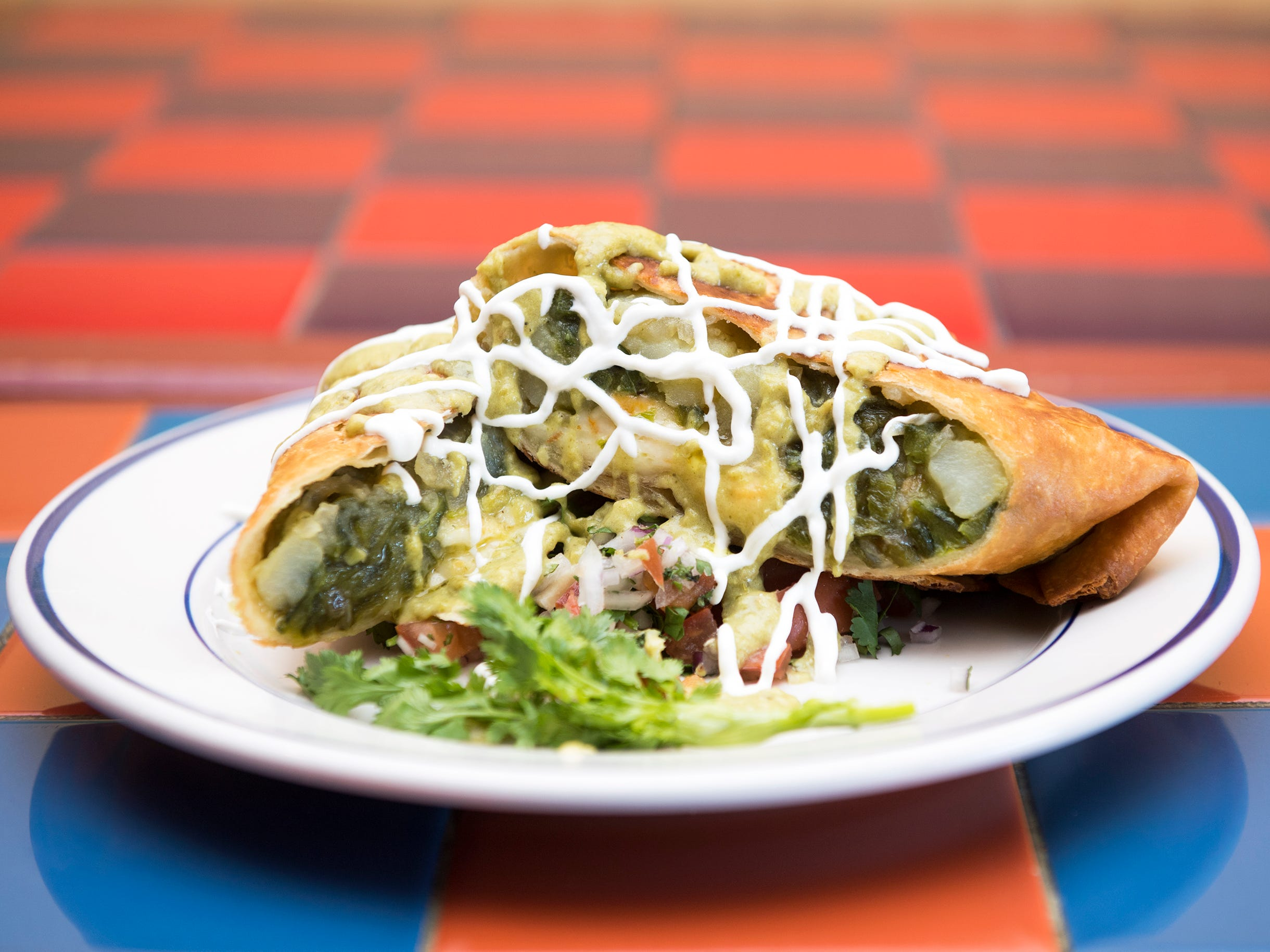 A chimichanga poblano dish with roasted poblano peppers, potatoes, onions with cheese is on the menu from La Esperanza in Lindenwold.